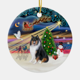Xmas Magic - Collie (tri colir) Double-Sided Ceramic Round Christmas Ornament