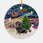 Xmas Magic - Dachshund (black-tan 4) Double-Sided Ceramic Round Christmas Ornament