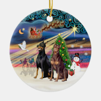 Xmas Magic - Dobermans (TWO-Blk-Red) Ceramic Ornament