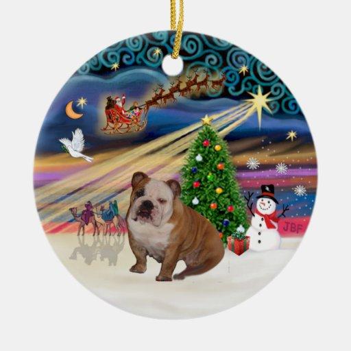 Xmas Magic - English Bulldog 1 (brown-cream) Christmas Tree Ornament