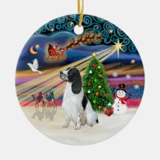 Xmas Magic - English Springer 7 (BW) Double-Sided Ceramic Round Christmas Ornament