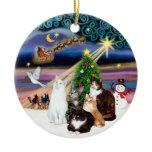 Xmas Magic - Five cats (ASH) Christmas Ornaments