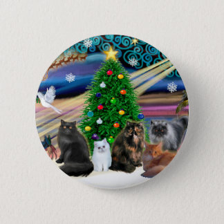 Xmas Magic - Five Persian Cats Button