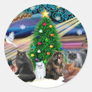 Xmas Magic - Five Persian Cats Classic Round Sticker