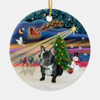 Xmas Magic - French Bulldog (black-white) Ceramic Ornament