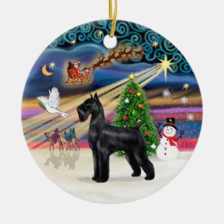 Xmas Magic - Giant Schnauzer (black) Ceramic Ornament