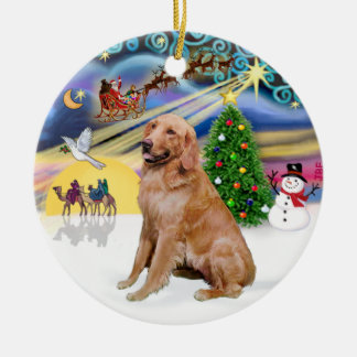 Xmas Magic - Golden (B1) Double-Sided Ceramic Round Christmas Ornament