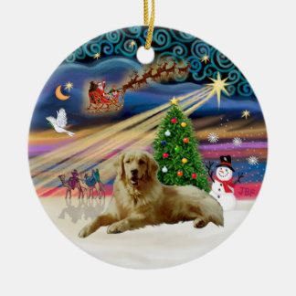 Xmas Magic - Golden (lying down) Double-Sided Ceramic Round Christmas Ornament