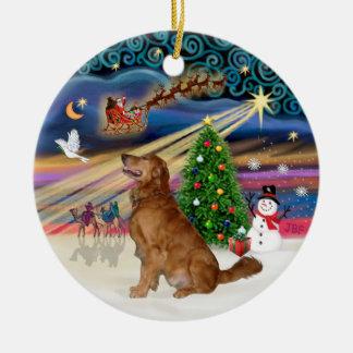 Xmas Magic -  Golden  Retriever (B-Prof) Double-Sided Ceramic Round Christmas Ornament