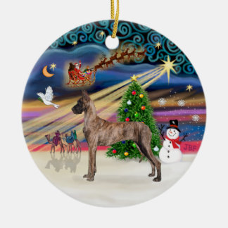 Xmas Magic - Great Dane (brindle stand) Christmas Tree Ornament