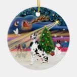 Xmas Magic - Harlequin Great Dane Double-Sided Ceramic Round Christmas Ornament