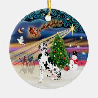 Xmas Magic - Harlequin Great Dane Christmas Ornaments