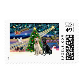 Xmas Magic-Lab Pair-Yell-Blk Stamp