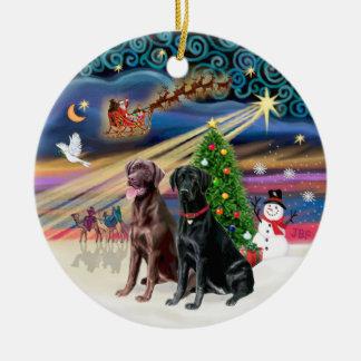 Xmas Magic - Labradors (black + chocolate) Christmas Tree Ornament