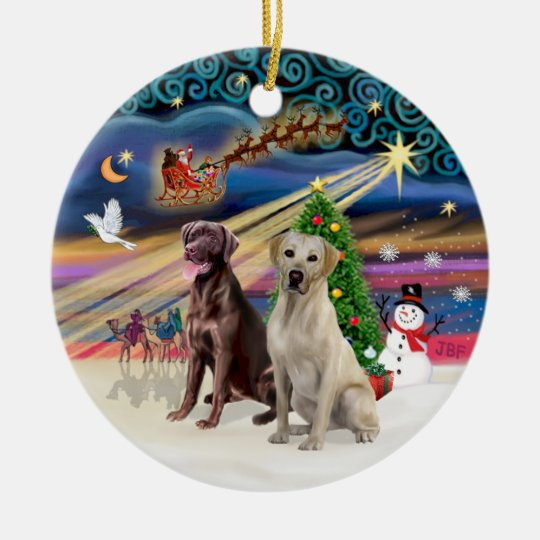 Xmas Magic - Labradors (Choc-Yellow) Ceramic Ornament
