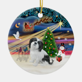 Xmas Magic - Lhasa Apso (black-white) Ceramic Ornament