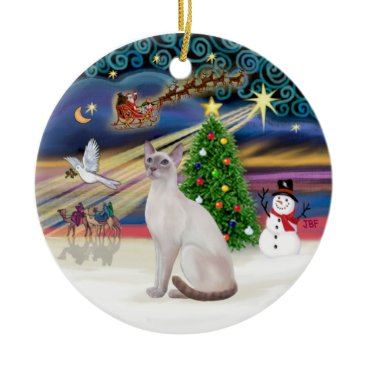 Christmas Themed Xmas Magic - Lilac Point Siamese Ceramic Ornament