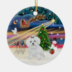 Xmas Magic - Maltese (bow) Ceramic Ornament
