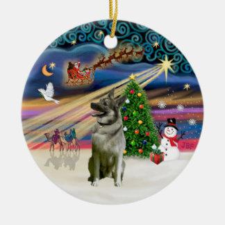 Xmas Magic - Norwegian Elkhound Double-Sided Ceramic Round Christmas Ornament