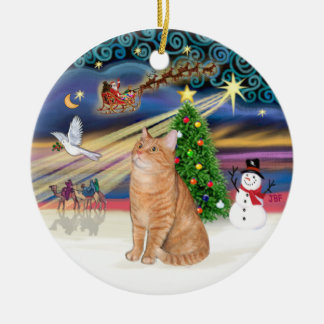 Xmas Magic - Orange tabby cat 40 Ceramic Ornament