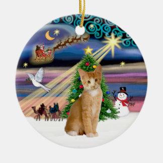 Xmas Magic - Orange - white tabby cat 40 Ceramic Ornament