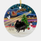 Xmas Magic - Pomeranian (black stand) Ceramic Ornament