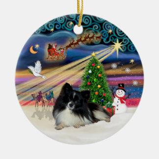 Xmas Magic - Pomeranian (black-white) Ceramic Ornament