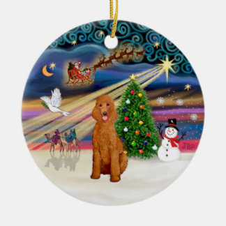 Xmas Magic - Poodle (Standard apricot) Double-Sided Ceramic Round Christmas Ornament