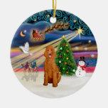 Xmas Magic - Poodle (Standard apricot) Christmas Tree Ornament