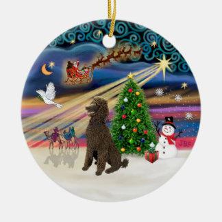 Xmas Magic - Poodle (Standard Chocolate) Ceramic Ornament