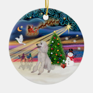 Xmas Magic - Poodle (Standard white, ribbons) Double-Sided Ceramic Round Christmas Ornament