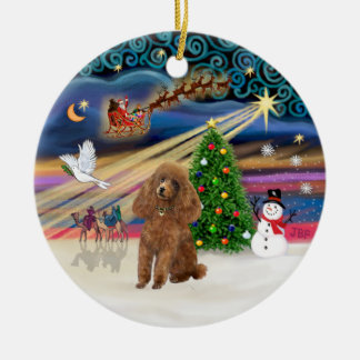 Xmas Magic - Poodle (Toy apricot) Double-Sided Ceramic Round Christmas Ornament