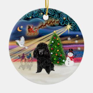 Xmas Magic - Poodle (toy black) Double-Sided Ceramic Round Christmas Ornament