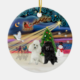 Xmas Magic - Poodles (TWO toy-BW) Ceramic Ornament