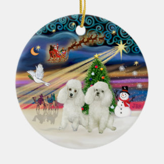 Xmas Magic - Poodles (TWO Toy white) Double-Sided Ceramic Round Christmas Ornament
