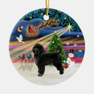 Xmas Magic - Portuguese Water Dog (R) Double-Sided Ceramic Round Christmas Ornament
