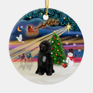 Xmas Magic - Portuguese Water Dog (R-sit) Double-Sided Ceramic Round Christmas Ornament
