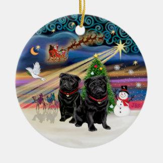 Xmas Magic - Pugs (TWO black) Ceramic Ornament