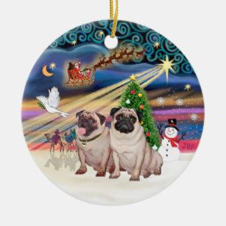 Xmas Magic - Pugs (Two fawn 2) Ornaments