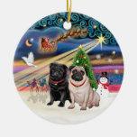 Xmas Magic - Pugs (TWO-fawn+black) Ornaments
