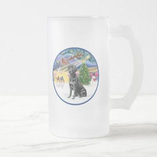 Xmas Magic (R) - Black Labrador Frosted Glass Beer Mug