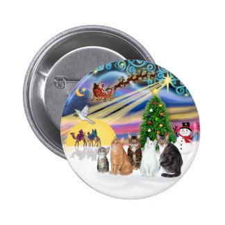 Xmas Magic (R) - Five cats (AmSH) Pinback Button