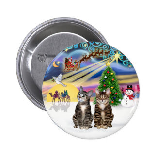 Xmas Magic (R) - Two Brown Tabby cats Button