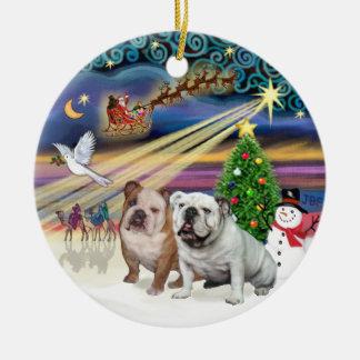 Xmas Magic (R) - Two English Bulldogs Ceramic Ornament