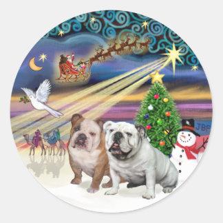 Xmas Magic (R) - Two English Bulldogs Round Stickers