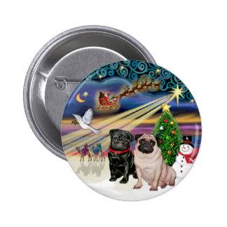 Xmas Magic (R) - Two Pugs (F + B) Pinback Button
