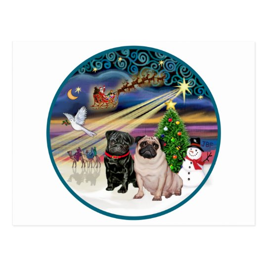 Xmas Magic (R) - Two Pugs (F + B) Postcard