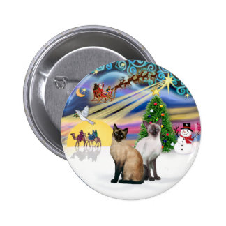 Xmas Magic (R) - Two Siamese cats Buttons