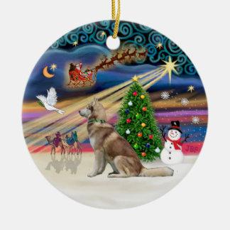 Xmas Magic - Red Siberian Husky Double-Sided Ceramic Round Christmas Ornament