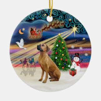 Xmas Magic - Rhodesian Ridgeback Double-Sided Ceramic Round Christmas Ornament